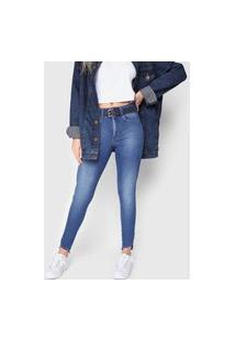 Calça Jeans Zune Skinny Assimétrica Azul