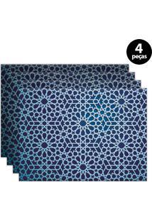 Kit 4Pçs Jogo Americano Mdecor Abstrato 40X28Cm Azul Marinho