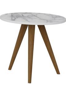 Mesa De Canto Decorativa Lyam Decor Retrô Branco Carrara