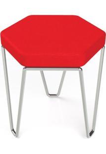 Banco Hexagon Vermelho Estrutura Cromada 45 Cm (Larg) - 41033 Sun House