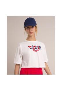Camiseta Cropped Oversized De Algodão Mulher Maravilha Flocada Manga Curta Decote Redondo Off White