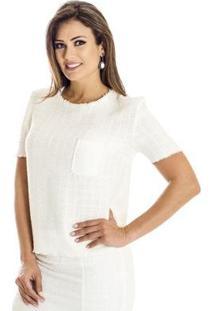 Blusa Tweed Ana Hickmann Feminina - Feminino-Branco