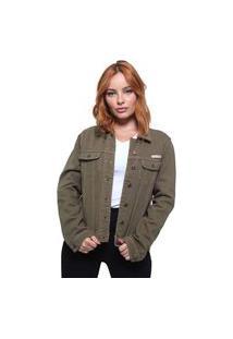 Jaqueta Feminina Jeans Color Crocker Verde Militar