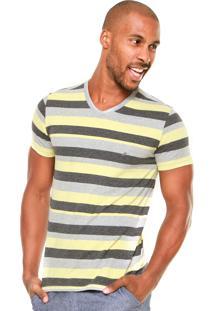 Camiseta Enfim Listrada Cinza/Amarela