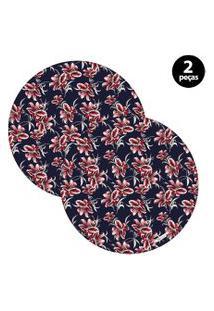 Capa Para Sousplat Mdecore Floral Azul Marinho 2Pçs
