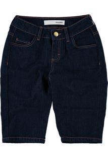 Bermuda Slim Jeans Malwee Azul Escuro - 54