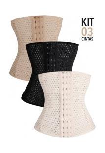 Kit Com 3 Cintas Modeladoras Abdominal Slim - Creme Preta E Nude