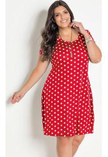 Vestido Poá Vermelho Soltinho Plus Size