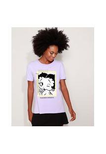 Camiseta Feminina Ampla Betty Boop Manga Curta Decote Redondo Lilás
