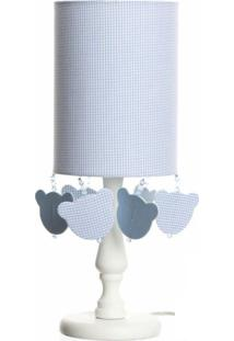 Abajur Cúpula Tubular Urso Potinho De Mel Azul