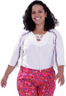 Blusa Morgana Pompons Plus Size Vickttoria Vick Plus Size Branco