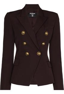 Balmain Double-Breasted Fitted Blazer - Marrom