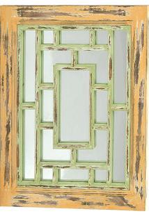 Espelho Para Ornamentação- Verde & Bege Escuro- 69X6Decor Glass