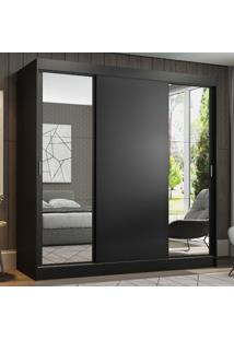 Guarda-Roupa Casal Madesa Reno 3 Portas De Correr Com Espelhos Preto - Preto - Dafiti