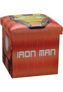 Puff Homem De Ferro®- Vermelho & Amarelo- 40X38X38Cmmabruk