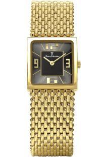 Relógio Analógico Jv00112- Preto & Dourado- Jean Verjean Vernier