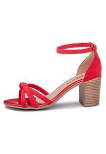 Sandalia Salto Medio Mariner Suede Vermelho