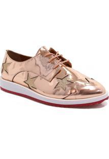 Sapato Oxford Zariff Shoes Metalizado Estrelas Rosa