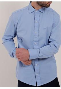 Camisa Slim Fit Manga Longa Masculina Azul