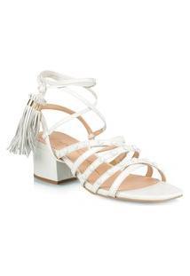 Sandália Salto Baixo Branco