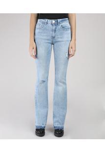 Calça Jeans Feminina Bbb Flare Cintura Alta Com Rasgos E Barra Desfeita Azul Claro
