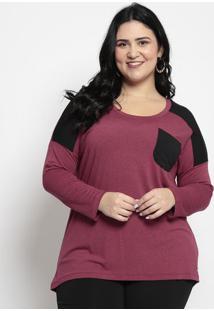 Blusa Lisa Com Bolso- Vermelha & Pretamelinde