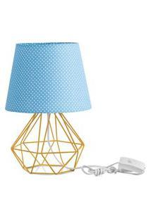 Abajur Diamante Dome Azul/Bolinha Com Aramado Amarelo
