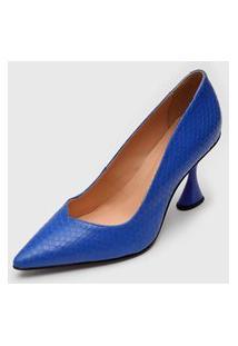 Scarpin Luiza Barcelos Texturizado Azul