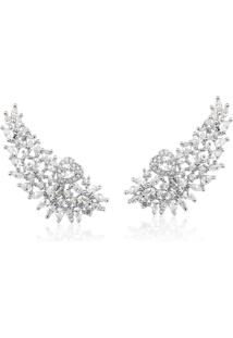 Brinco Le Diamond Ear Jacket Asa Com Coraã§Ã£O Prata - Branco/Prata - Feminino - Dafiti
