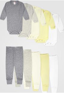 Kit 10Pçs Body Culote Zupt Baby Enxoval Bege