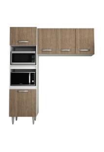 Cozinha Modulada 2 Módulos Composiçáo 6 Branco/Castanho - Lumil