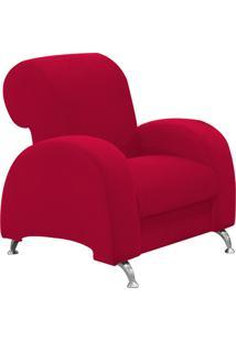 Poltrona D'Rossi Decorativa Hipo Suede Vermelho Com Pés Em Alumínio - D'Rossi