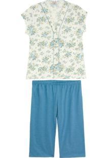 Pijama Feminino Lua Encantada Pescador Aberto Floral