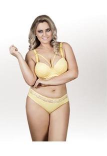 Conjunto Arsiè Lingerie Strapp Plus Size Feminino - Feminino-Amarelo
