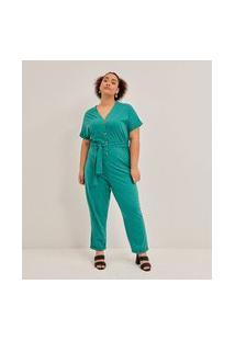 Macacão Longo Sem Estampa Com Botões Curve & Plus Size | Ashua Curve E Plus Size | Verde | G1