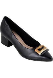 Sapato Modare Preta Com Detalhe Dourado