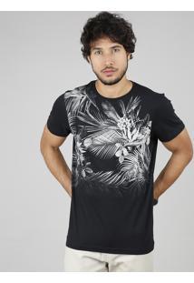 Camiseta Masculina Slim Fit Com Estampa Floral Manga Curta Gola Careca Preta