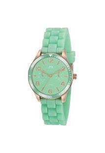 Kit De Relógio Analógico Mondaine Feminino + Pulseira - 32017Lpmgri1K Verde Claro