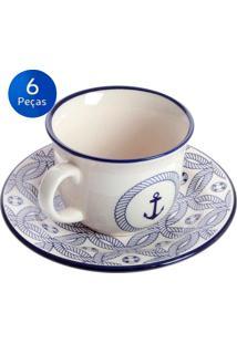 Conjunto De Xícaras Para Chá 200Ml Com Pires 6 Peças Floreal Náutico - Oxford Branco/Azul