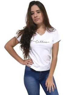 Camiseta Gola V Cellos Stretched Premium Feminina - Feminino-Branco