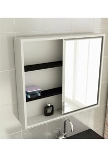 Espelheira Para Banheiro Modelo 22 60 Cm Branca E Preta Tomdo