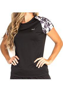 T-Shirt Camuflada Feminina Bm9 Tecido Leve Modelagem Justa Movimentação Livre Exercício Físico Preta