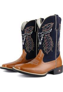 Bota Country Sapatofran Texana Rebento Bico Quadrado Cara De Boi Azul-Marinho
