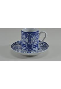 Conjunto 06 Xicaras De Café C/ Pires Schmidt - Dec. Azulejo