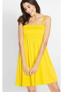 Vestido De Alcinhas Com Franzido Amarelo