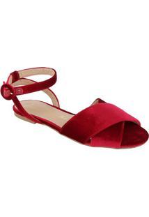 Sandália Rasteira Com Tiras Cruzadas - Vermelhaluiza Barcelos
