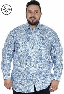 Camisa Plus Size Bigshirts Manga Longa Estamp Ramos