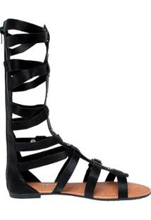 Sandália Dakota Gladiadora Alta Ly Feminina - Feminino-Preto