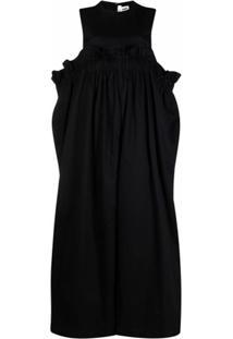 Comme Des Garçons Noir Kei Ninomiya Macacão Pantalona Listrado E Franzido - Preto