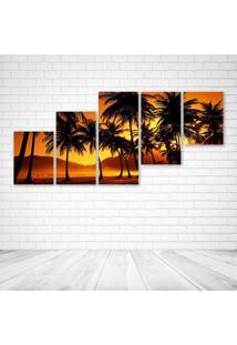 Quadro Decorativo - Sunlight Comes Behind The Trees - Composto De 5 Quadros - Multicolorido - Dafiti